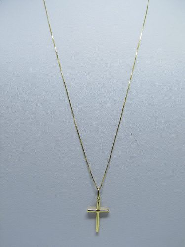 Corrente Veneziana 60cm E Pingente crucifixo Ouro 18k 750
