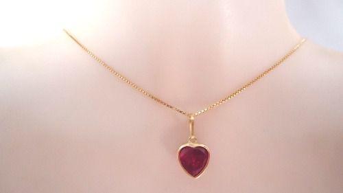 Pingente Coração 8mm Pedra Vermelho Rubi Joia Ouro 18k