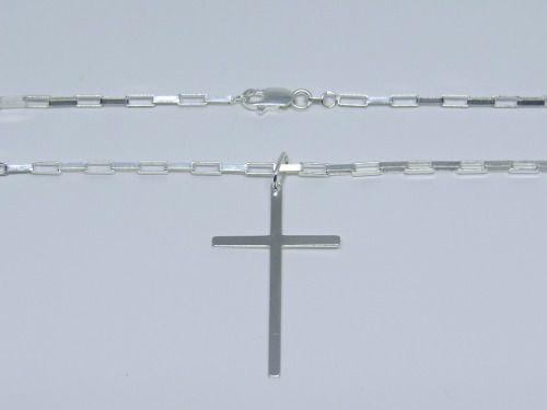 Corrente Cordão Masculino Prata 70cm Pingente Cruz Crucifixo Prata 925 Cadeado