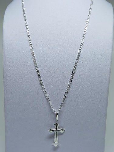 Corrente 3 Em 1 Cordão 70cm Pingente Crucifixo Prata 925