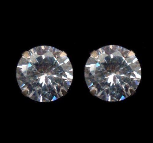 Brinco 8mm Pedra Diamante Sintético Prata 925