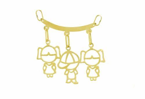 Corrente De Ouro 18k 750 Singapura 45cm Pingente Canga Três Filhos