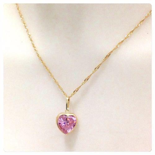 Colar Corrente Feminina Singapura 45cm E Pingente Coração Rosa Ouro 18k 750  - DR JOIAS 33f415c6b2