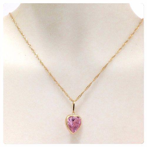 Colar Corrente Feminina Singapura 45cm E Pingente Coração Rosa  Ouro 18k 750