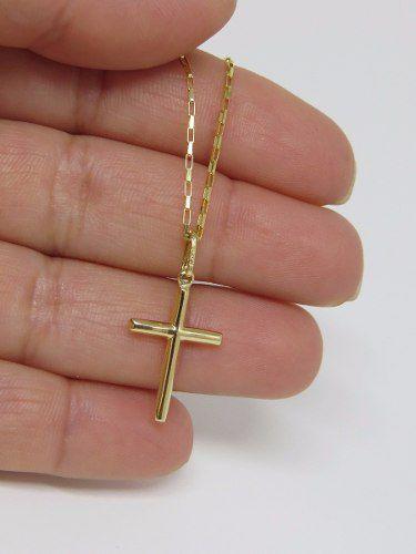 Cordão Corrente 45cm Pingente Cruz Crucifixo Ouro 18k 750