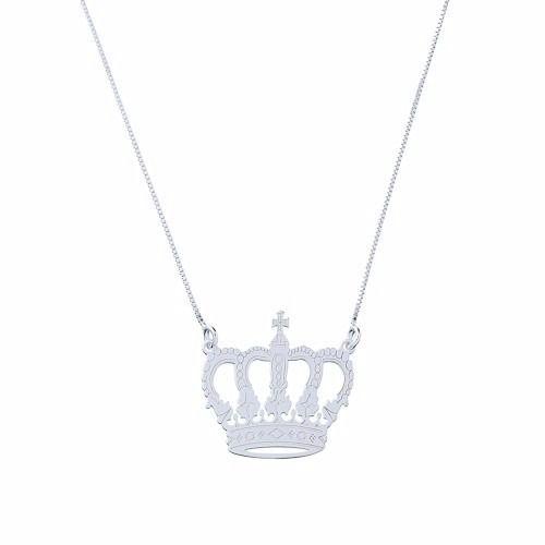 Corrente Colar Pingente Coroa Em Prata 925