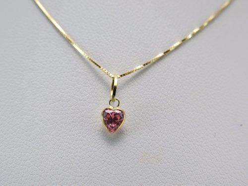 Gargantilha Colar Veneziana 40cm Ponto De Luz Coração Rosa Em Ouro 18k 750