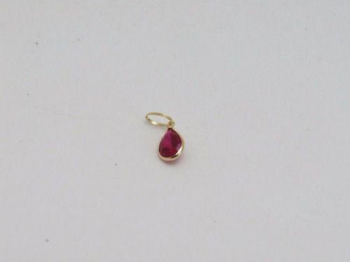 Colar Gargantilha Veneziana 45cm Ponto De Luz Gota Vermelha Rubi Em Ouro 18k-750