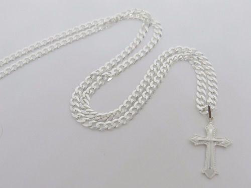 Corrente Masculina Grumet 4.5mm X 70cm E Pingente Crucifixo Prata 925