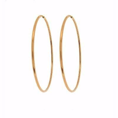Argola Redonda 3.3cm E Pingentes Coração Rosa em Ouro 18k