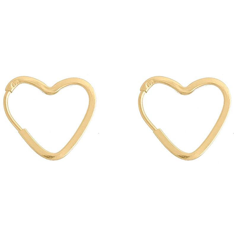 Brinco Argola De Coração De Ouro 18k
