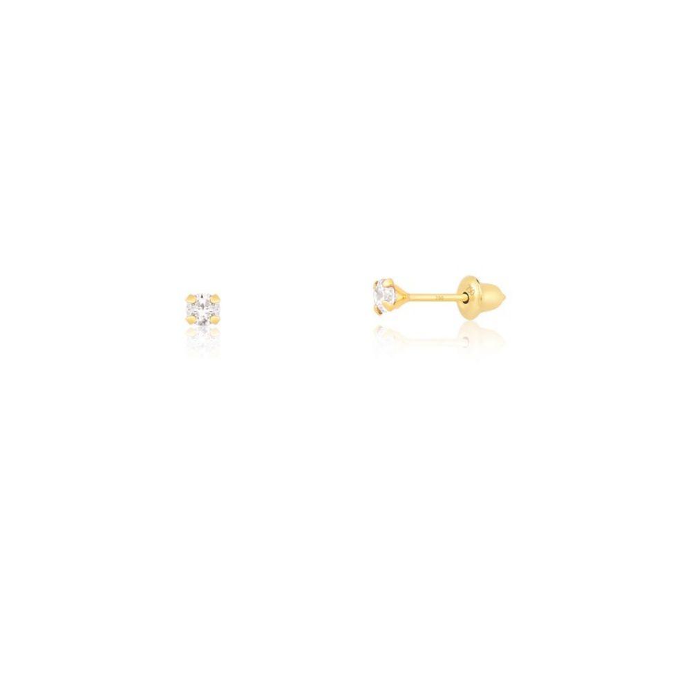 Brinco Infantil Zircônia 2.5mm Tarracha Baby De Ouro 18k