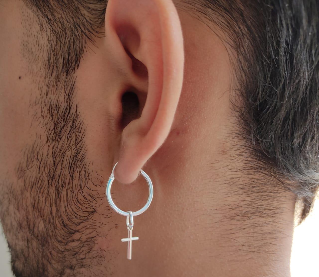 Brinco Masculino E Feminino Argola 1.8cm Cruz De Prata 925