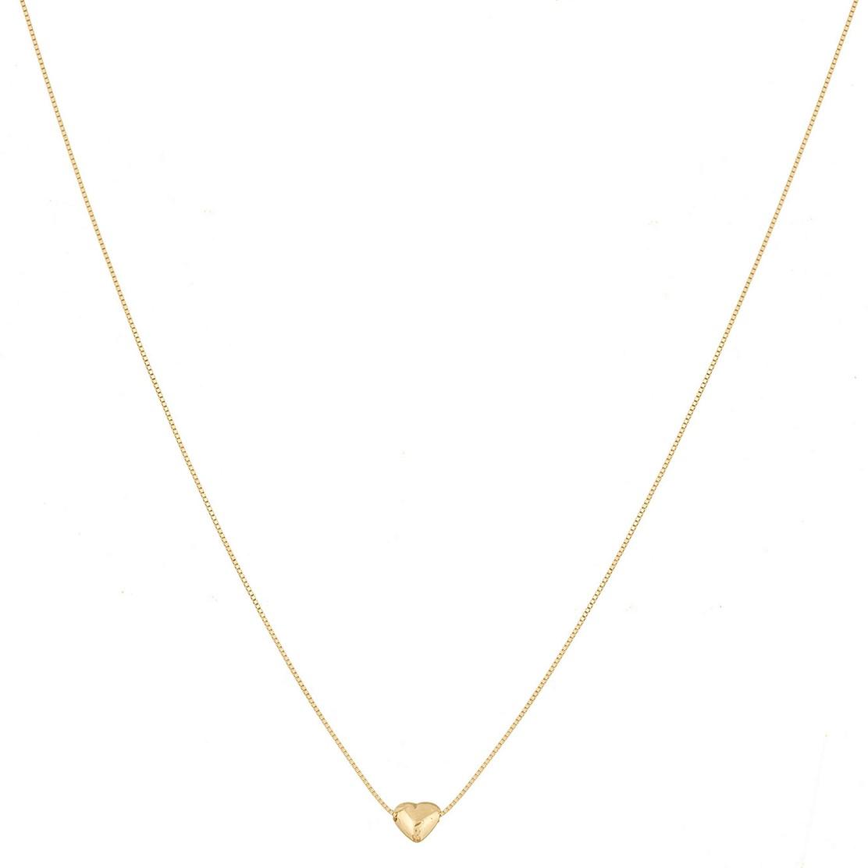 Colar Cordão Corrente Feminina 45cm Veneziana Coração De Ouro 18k