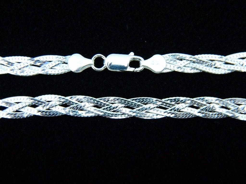Colar Gargantilha Trançada 4 Fios 45cm Prata 925