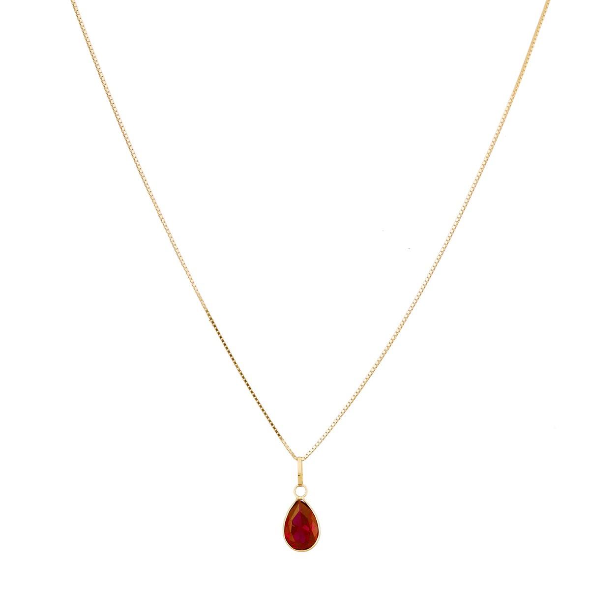 Colar Gargantilha Veneziana 45cm Ponto De Luz Gota Vermelha Rubi Em Ouro 18k