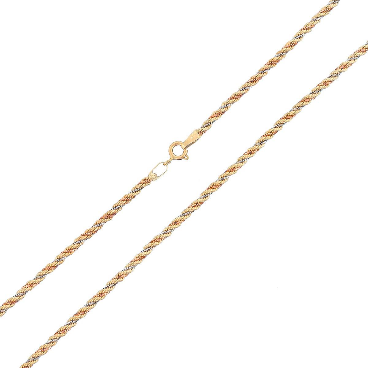 Conjunto Corrente E Pulseira Cordão Baiano Tricolor De Ouro 18k