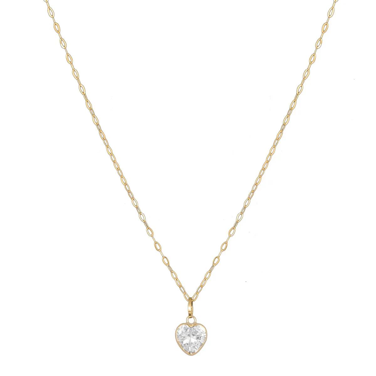 Cordão Colar Corrente Feminina 40cm Com Pingente Coração De Ouro 18k