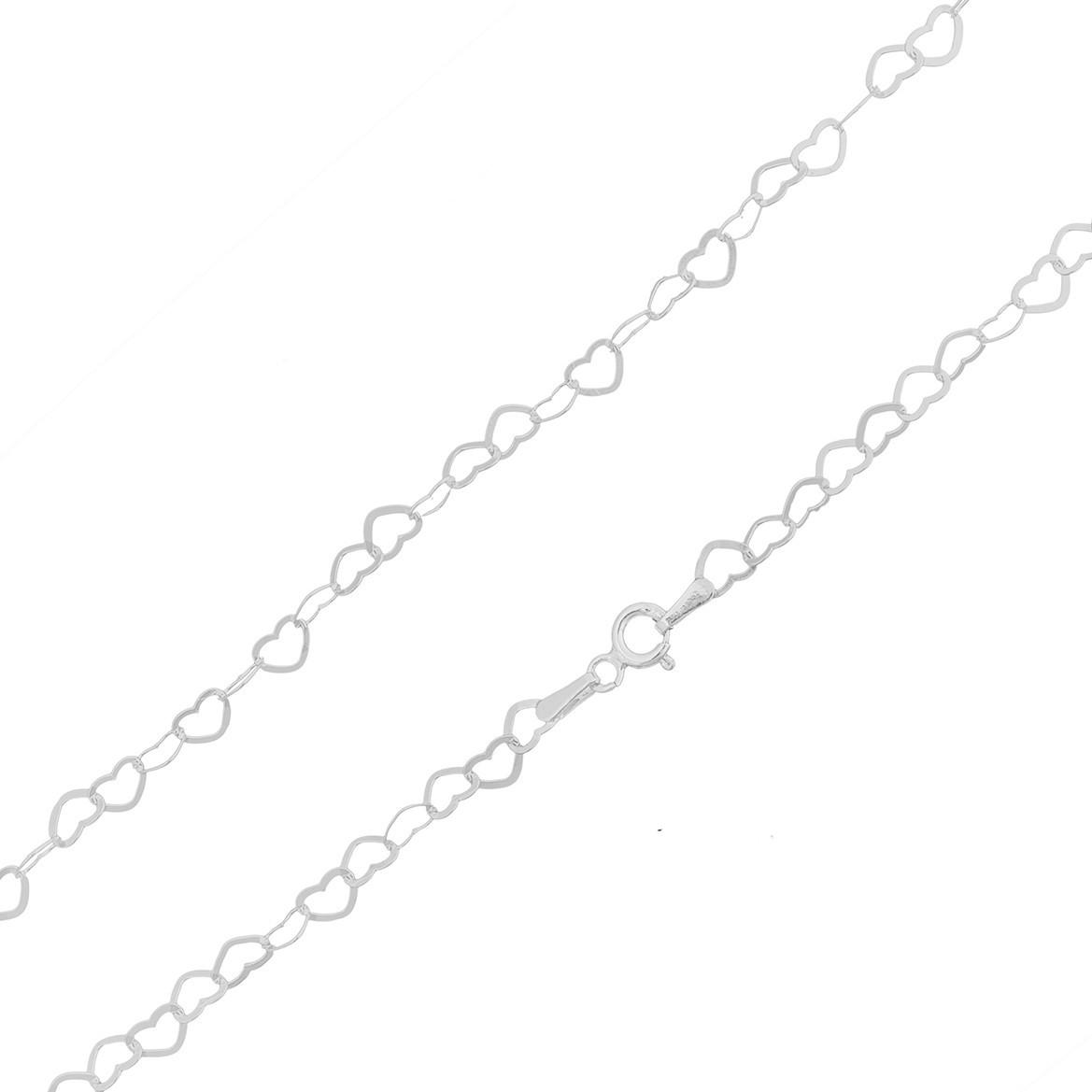 Cordão Corrente Colar Coração Prata 925 Maciça Feminina 45cm