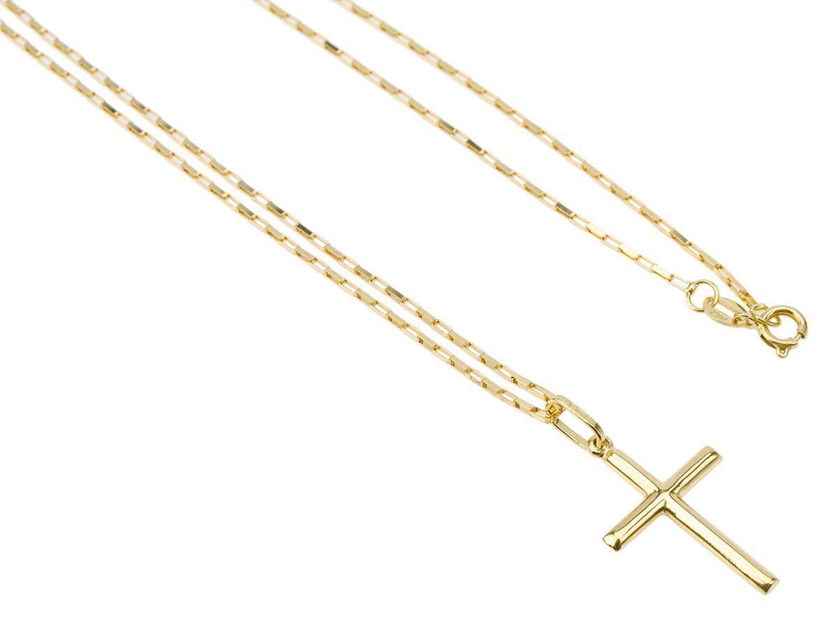 Cordão Corrente Gargantilha Feminina Ouro 50cm Pingente Crucifixo Ouro 18k 750 Cadeado