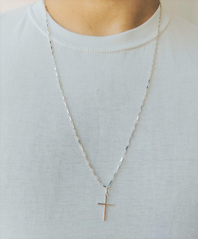 Cordão Corrente Masculina Cadeado 60cm Pingente Cruz Crucifixo De Prata 925