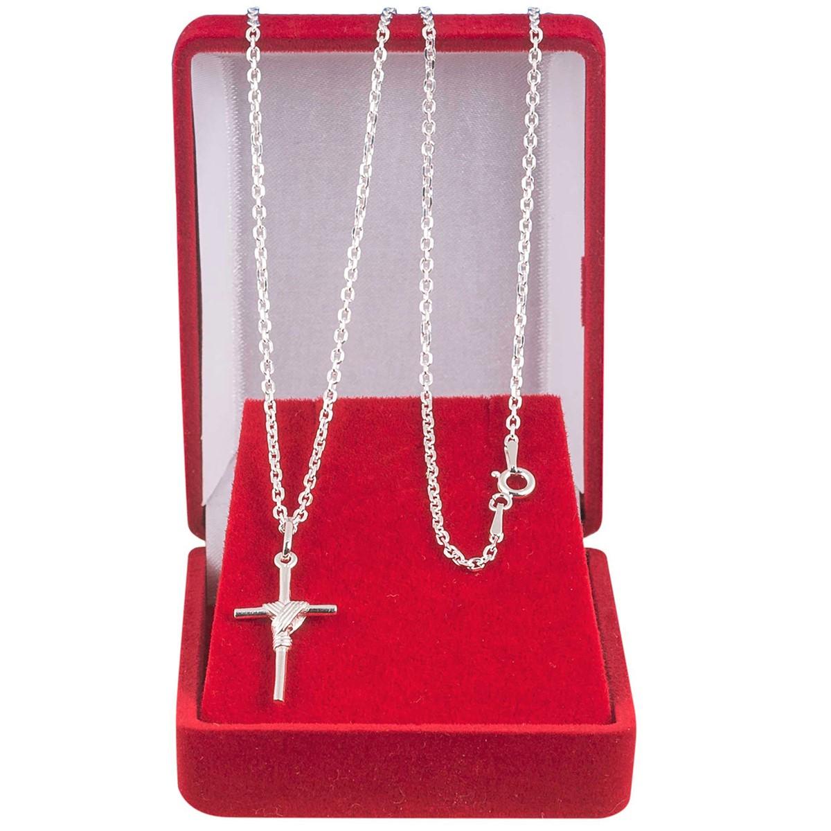 Cordão Corrente Masculina Cadeado 70cm Pingente Crucifixo De Prata 925