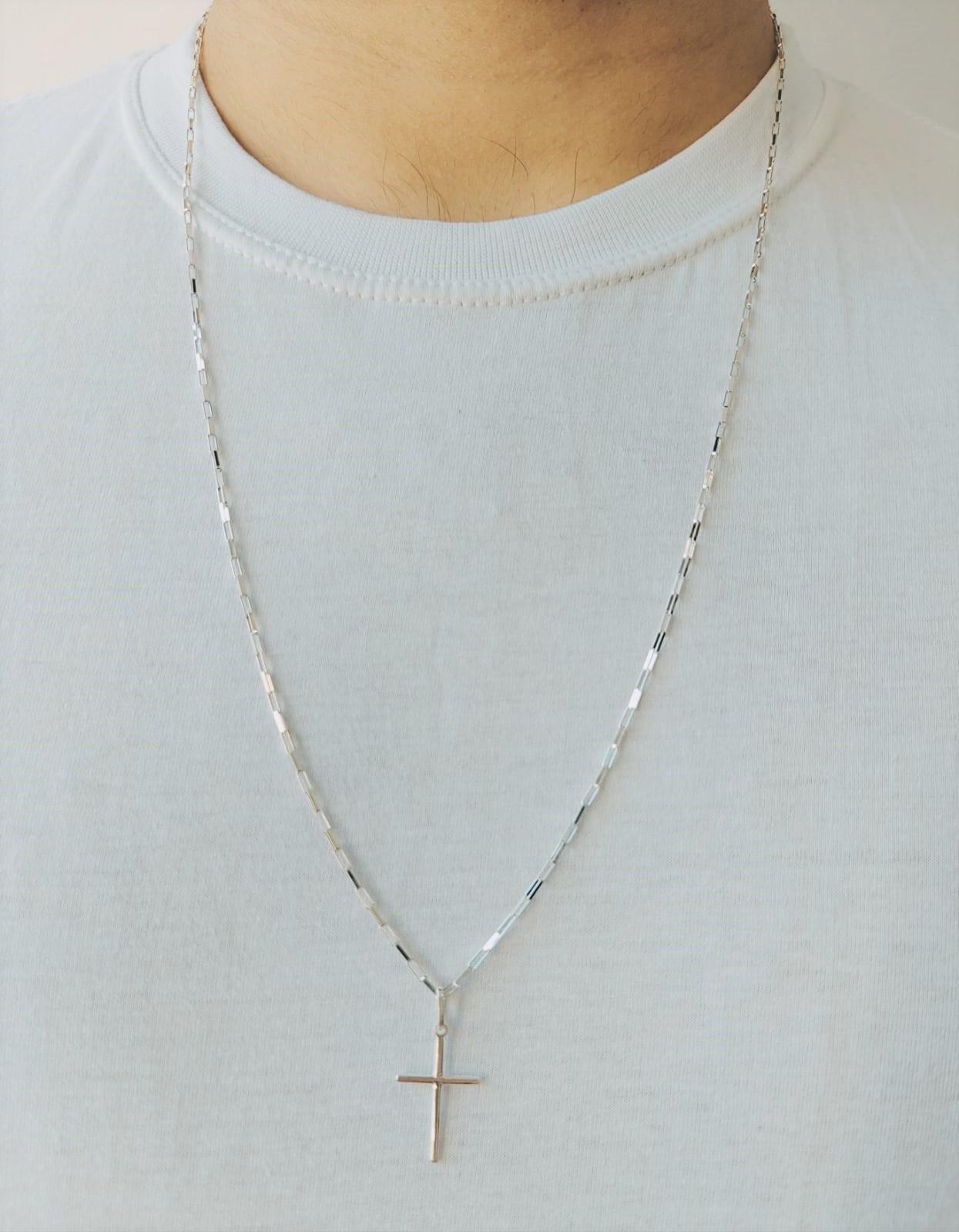 Cordão Corrente Masculina Cadeado 80cm Pingente Cruz Crucifixo De Prata 925
