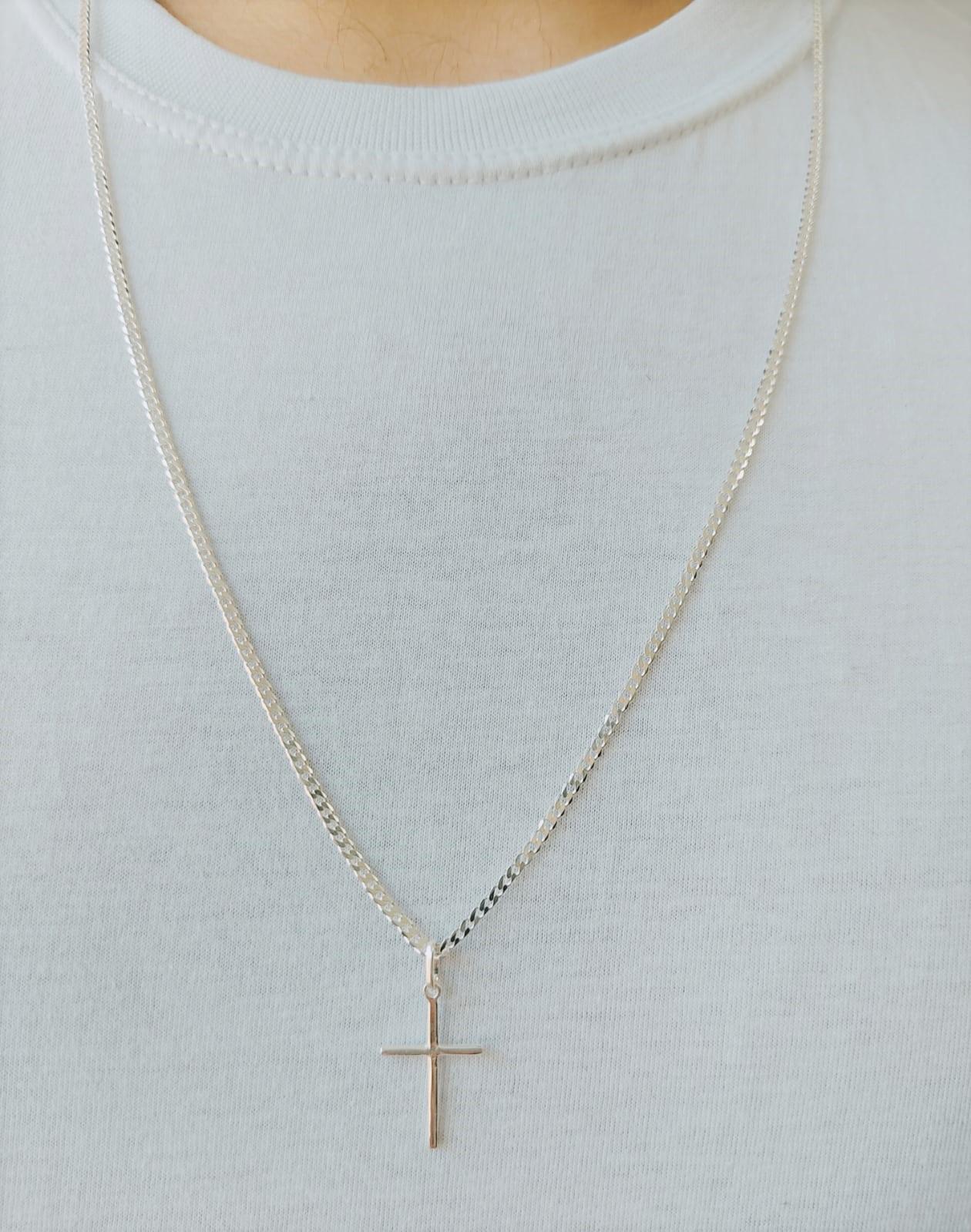 Cordão Corrente Masculina Grumet 60cm Pingente Crucifixo De Prata 925