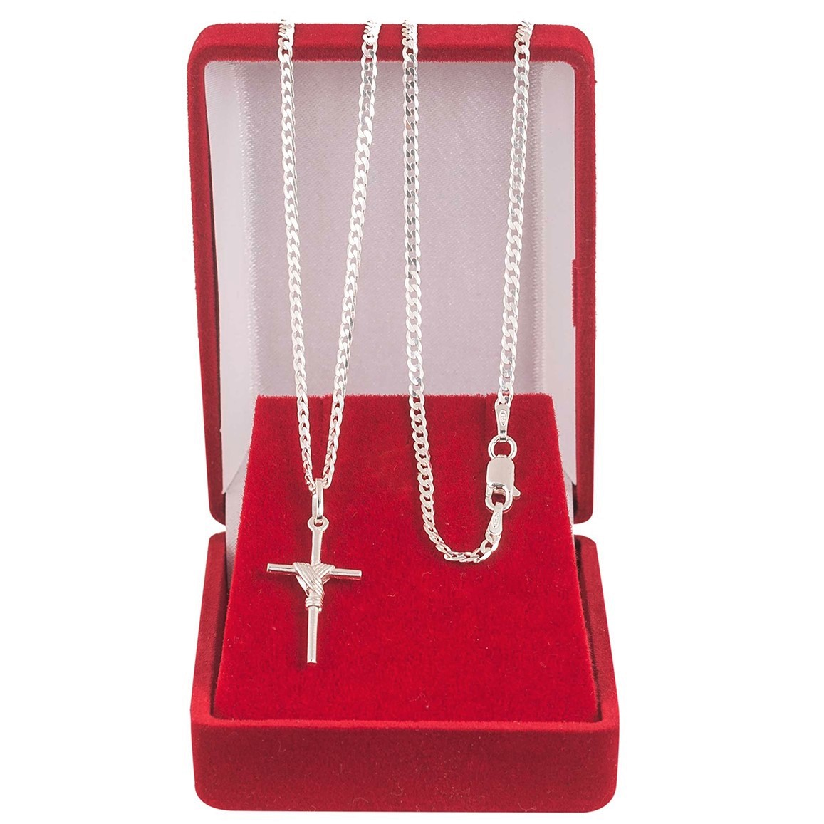 Cordão Corrente Masculina Grumet 60cm Pingente Cruz Crucifixo De Prata 925