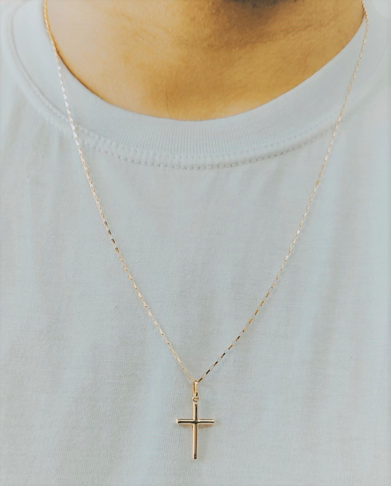 Cordão Corrente Masculina Ouro 1.8g Pingente Cruz Crucifixo 0.60g Ouro 18k 750