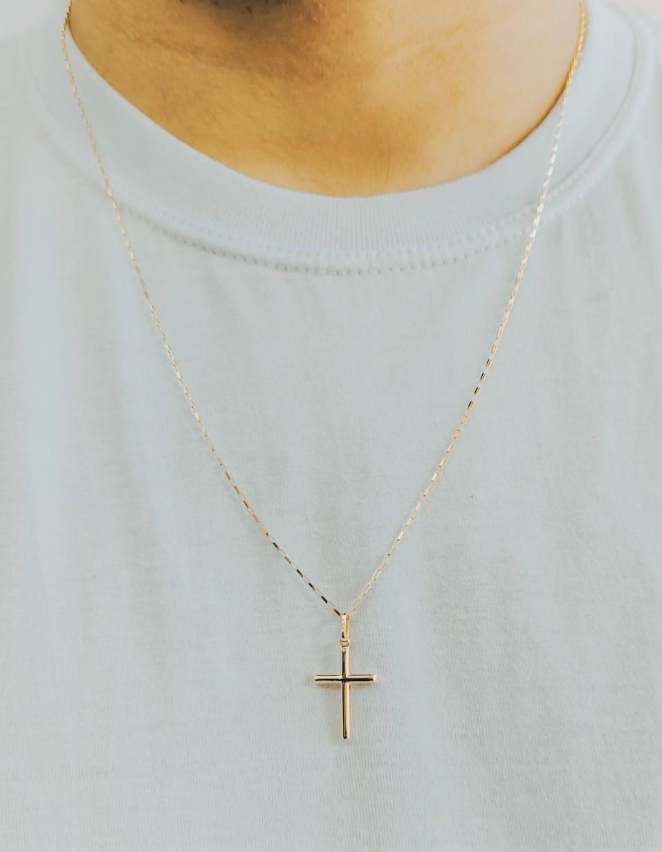 Cordão Corrente Masculina Ouro 80cm+ Pingente Cruz Crucifixo Ouro 18k Cadeado