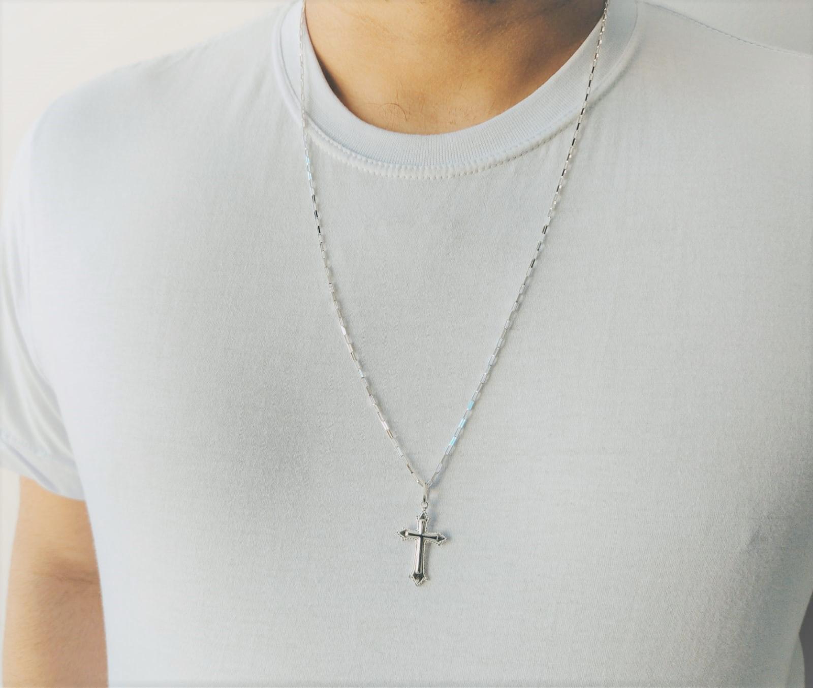 Cordão Corrente Masculina Prata 70cm Pingente Crucifixo Prata 925 Cadeado