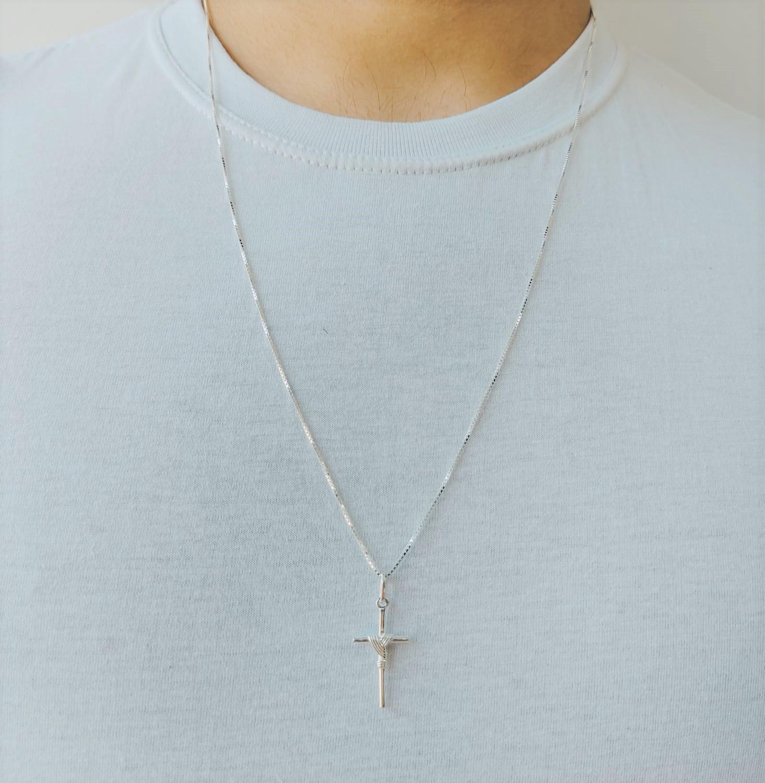Cordão Corrente Masculina Veneziana 60cm Pingente Crucifixo Prata 925 Maciça