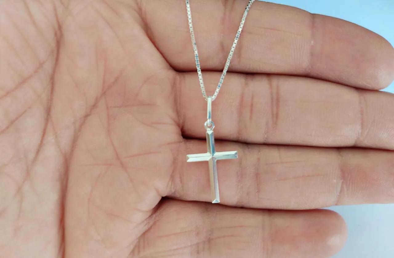 Cordão Corrente Masculina Veneziana 60cm Pingente Cruz Crucifixo Prata 925