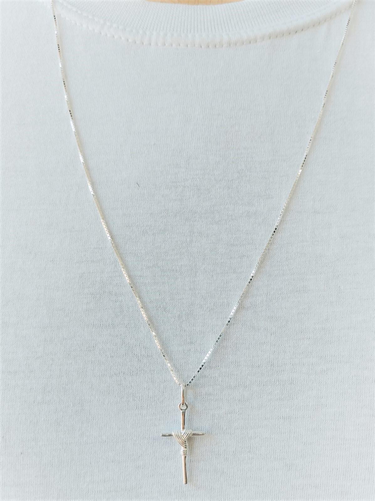 Cordão Corrente Masculina Veneziana 70cm Pingente Crucifixo Prata 925 Maciça