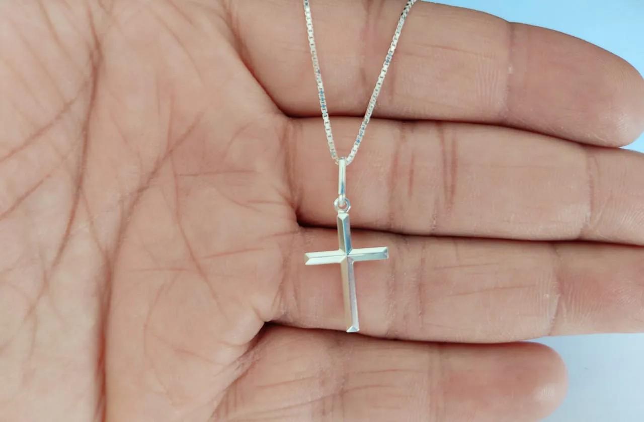 Cordão Corrente Masculina Veneziana 70cm Pingente Cruz Crucifixo Prata 925