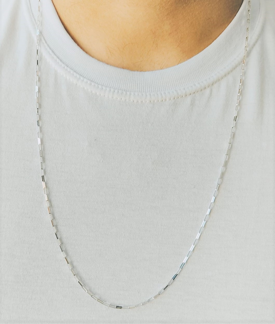 Cordão Corrente Masculino Cadeado 80cm Prata 925