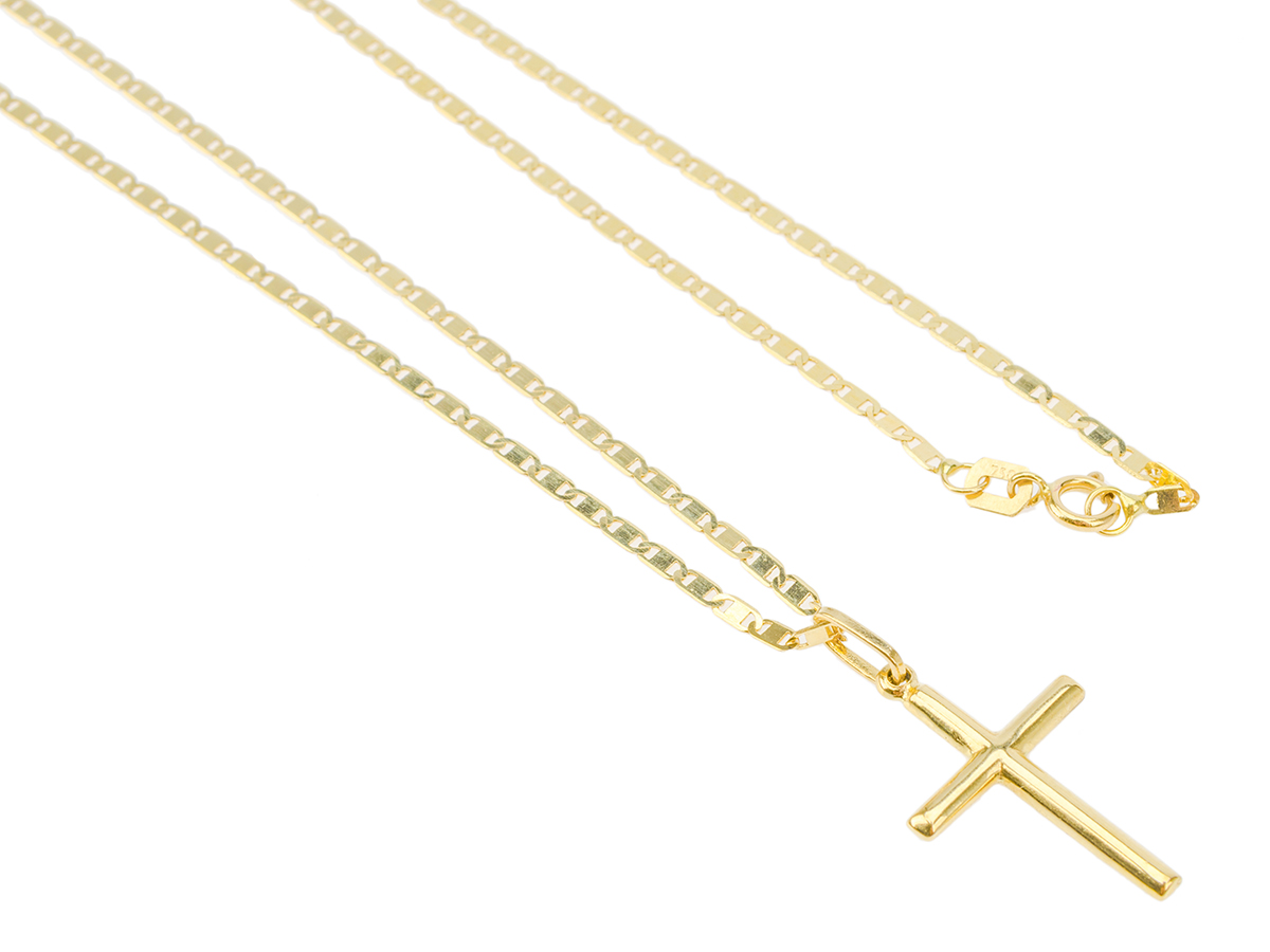 Cordão Corrente Piastrine 60cm Pingente Crucifixo 2.7cm Ouro 18k 750