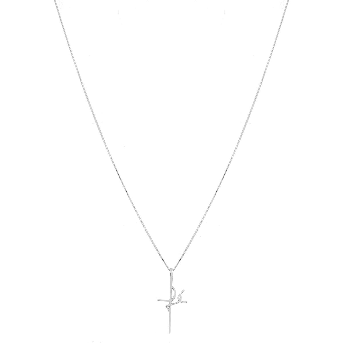 Corrente Colar Cordão de Prata Veneziana 60cm com Pingente Fé Manuscrito Prata 925
