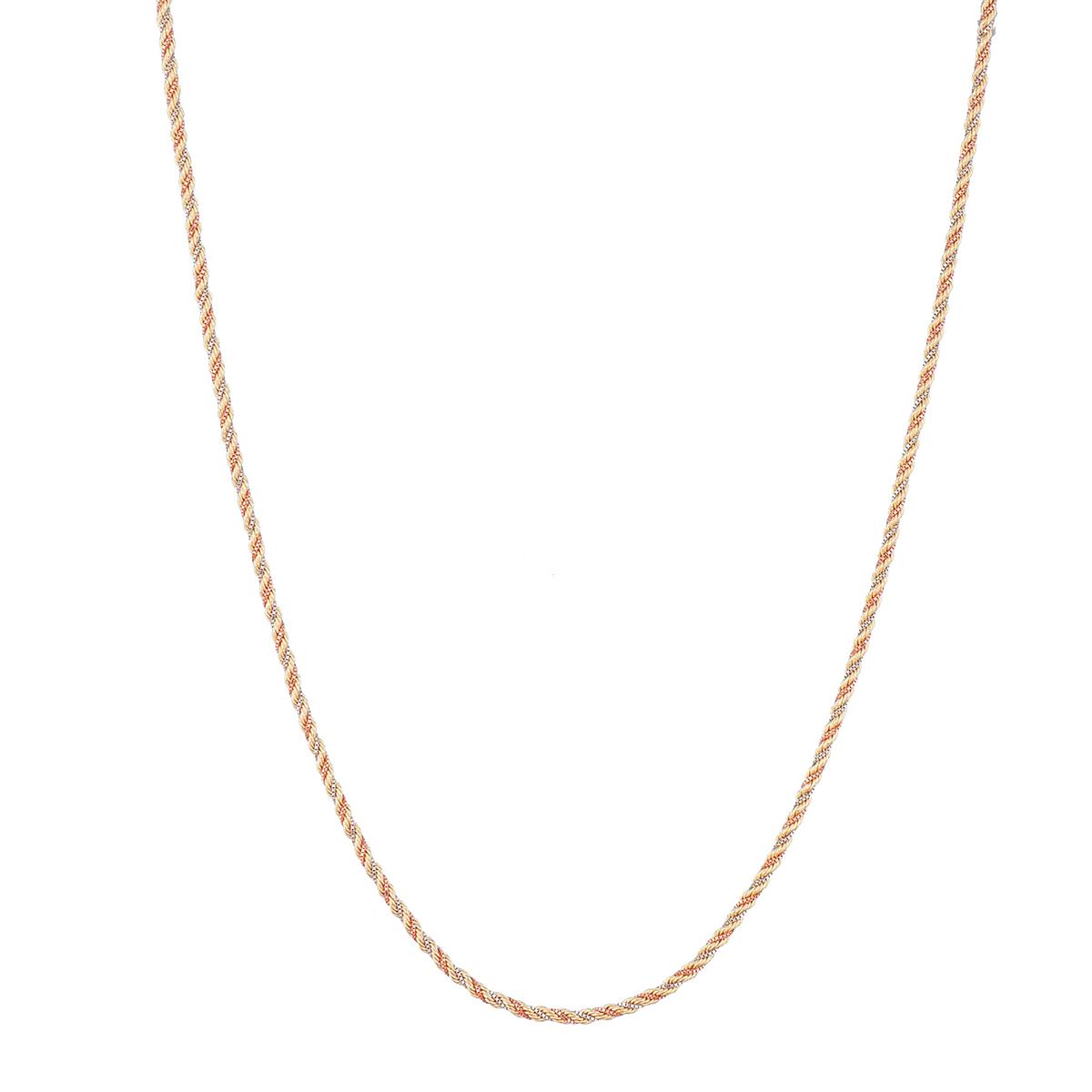Corrente Colar Feminino 45cm Cordão Baiano Tricolor De Ouro 18k