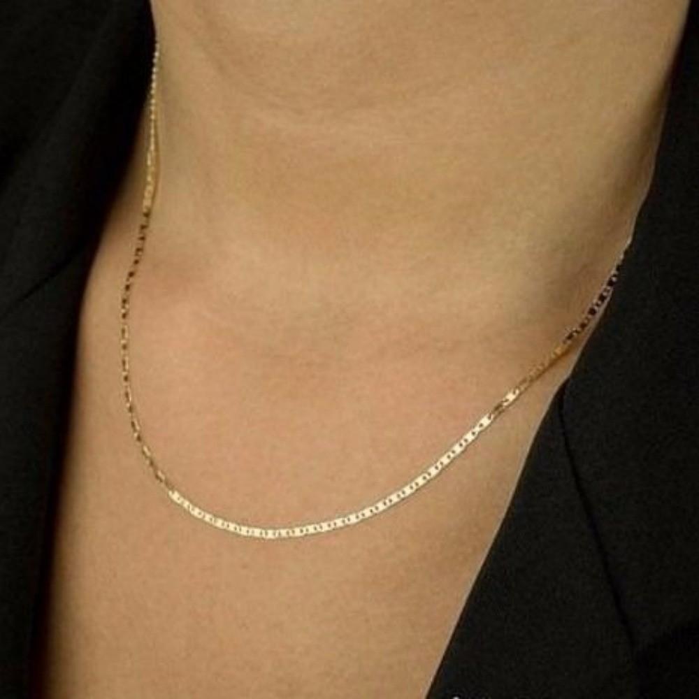 Corrente Colar Gargantilha Feminina Piastrine 40cm De Ouro 18K