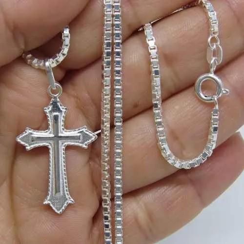 Corrente Cordão 80cm Pingente Crucifixo Prata 925