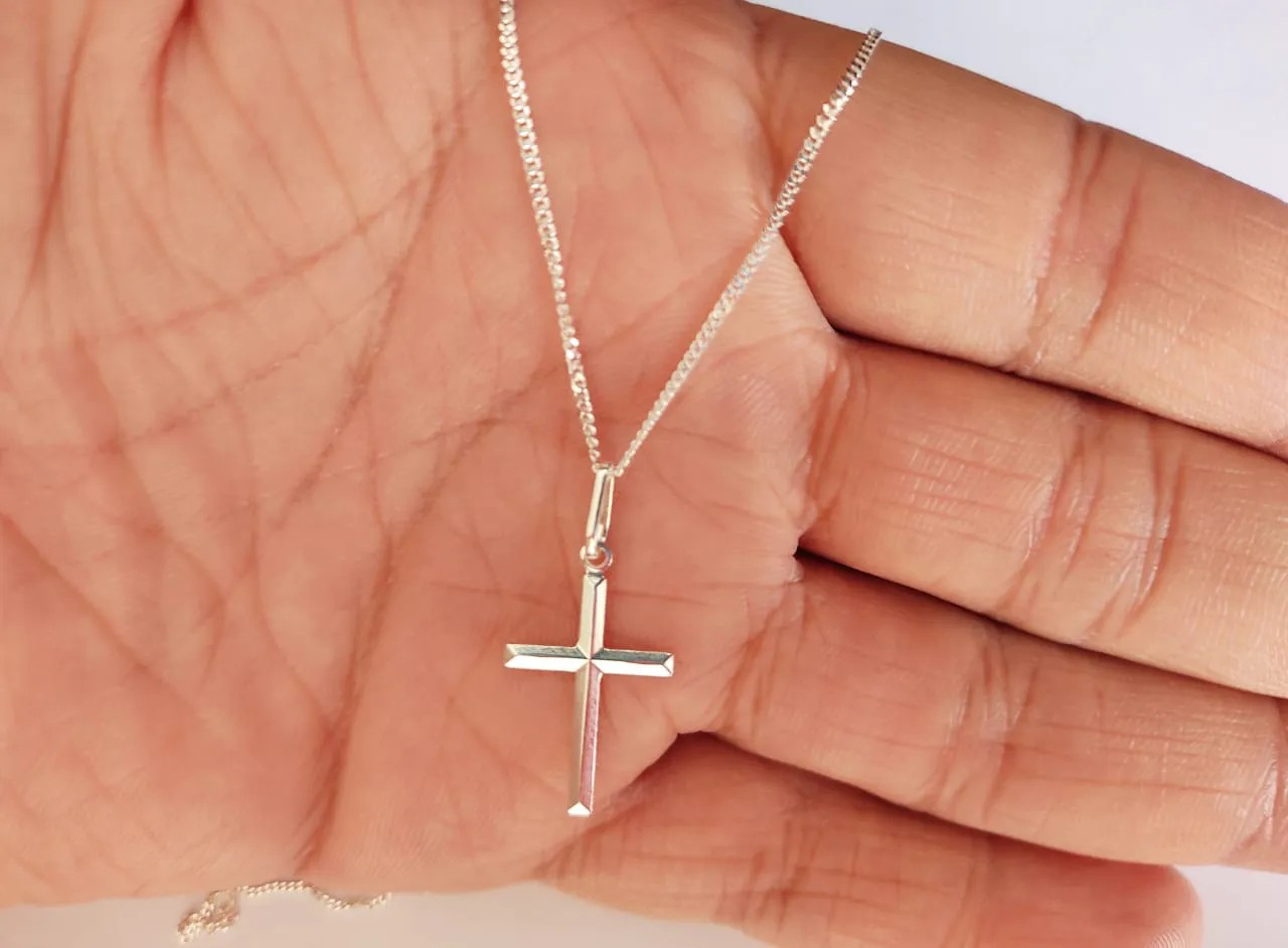 Corrente Cordão Masculino Grumet 60cm Pingente Cruz Crucifixo Prata 925