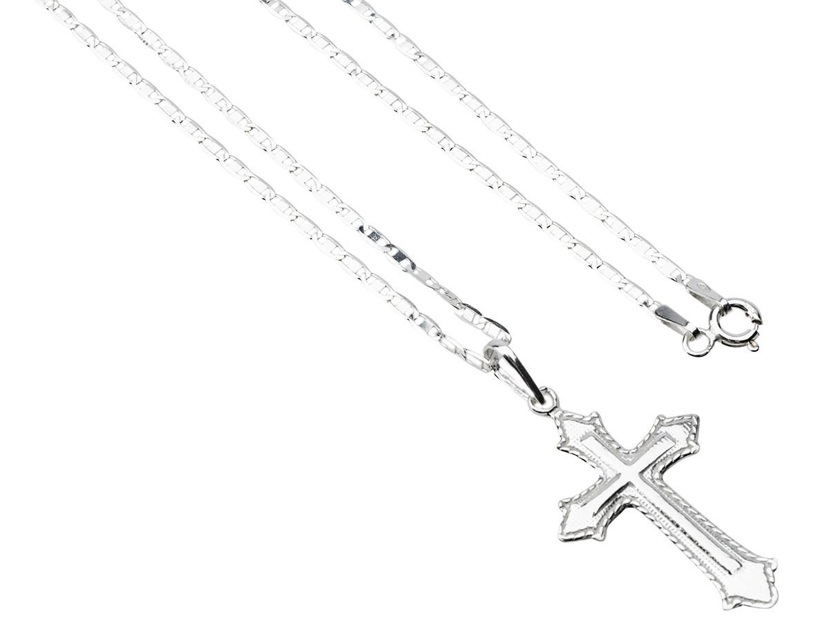 Corrente Cordão Masculino Pìastrine 70cm Pingente Crucifixo Prata 925