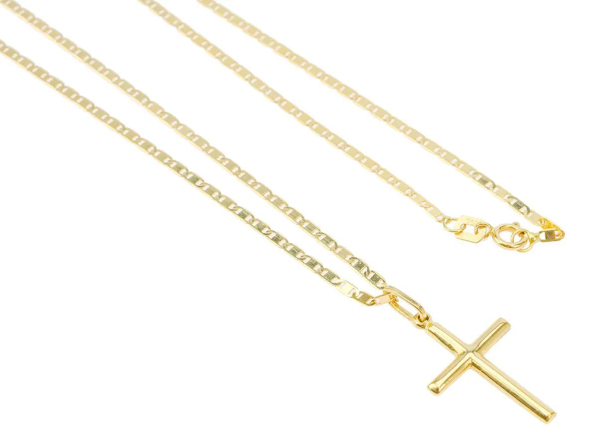 Corrente Cordão Piastrine 70cm Pingente Cruz Crucifixo De Ouro 18k 750