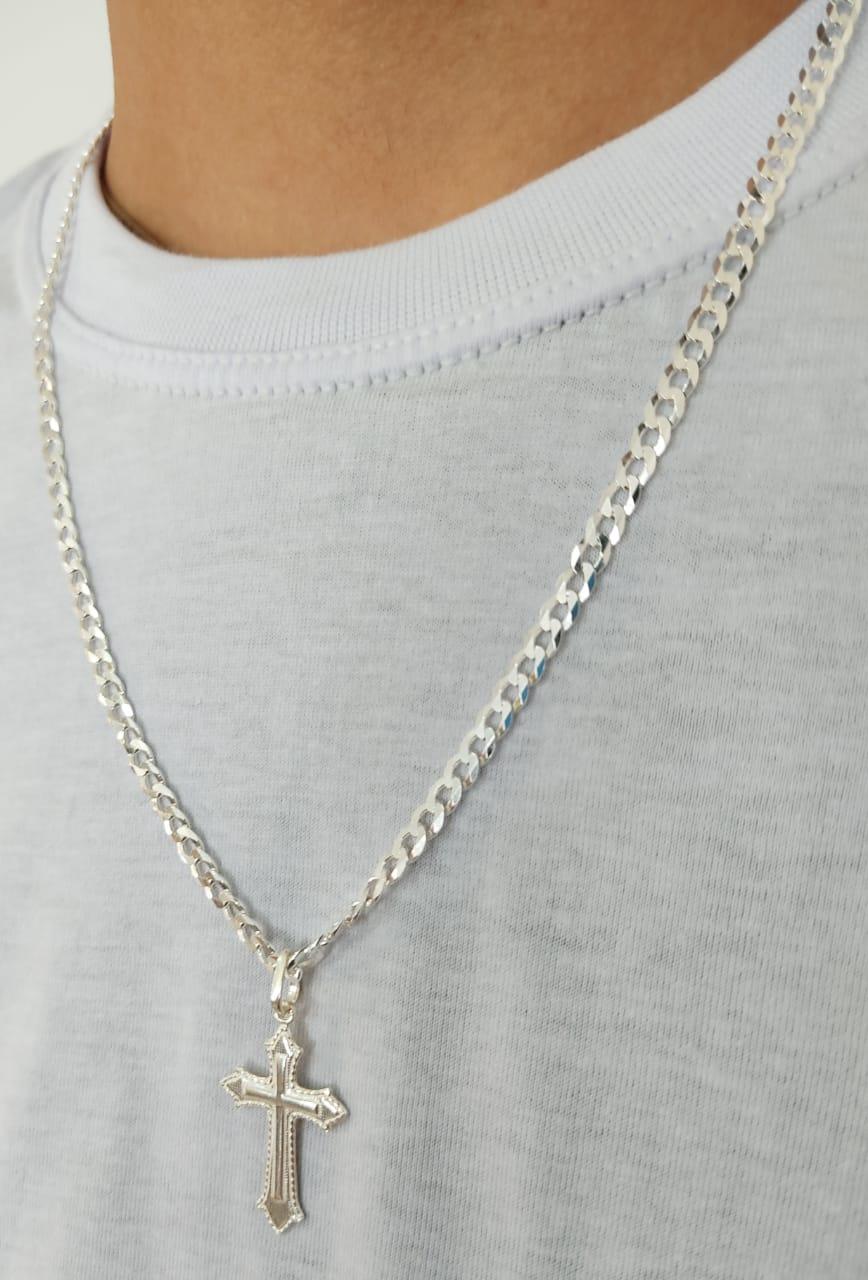 Corrente Cordão Prata Maciça 925 Grumet 60cm Pingente Cruz