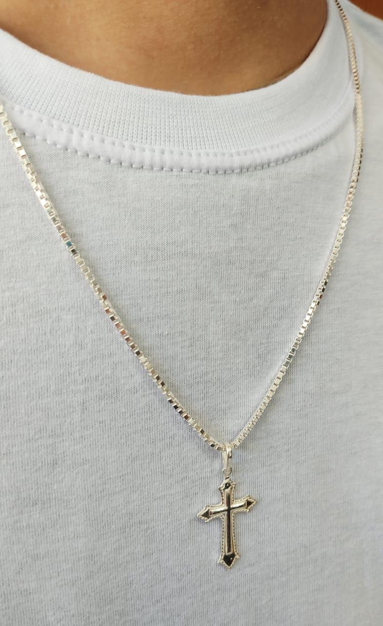 Corrente Cordão Veneziana 60cm 2mm Pingente Crucifixo