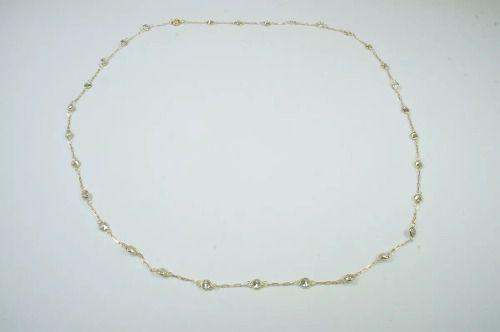 Corrente Gargantilha Pedras Brancas Zirconia Ouro18k