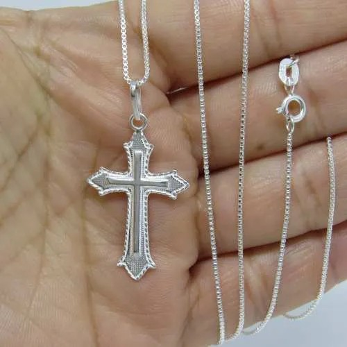 Corrente Veneziana Fina 70cm Pingente Crucifixo Prata 925