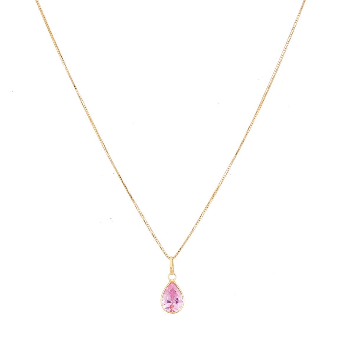 Gargantilha Veneziana 40cm Colar Ponto De Luz Gota Rosa Em Ouro 18k 750